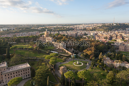 vatican city gandens aerial view rome