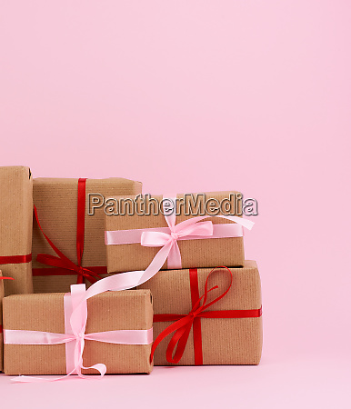 stack of gifts in boxes wrapped