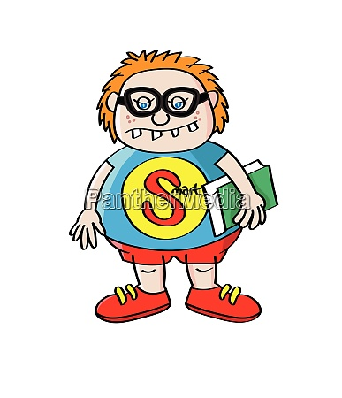 funny nerd geek boy cartoon character