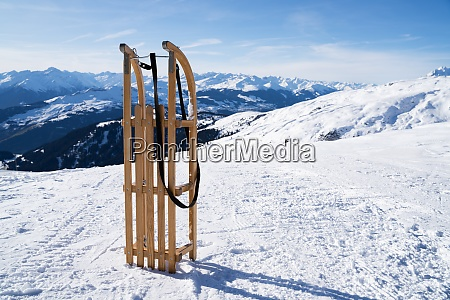 wooden sled in the snow