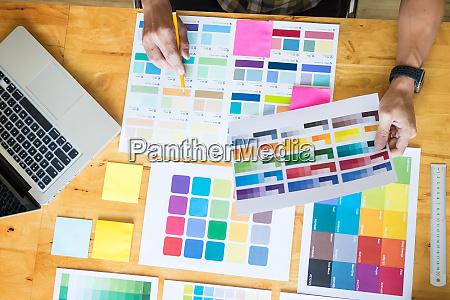 creative graphic designer at work color
