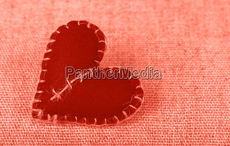 coral pink toned felt craft heart