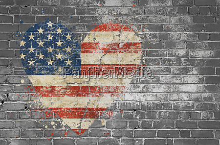 heart shaped flag of usa painted