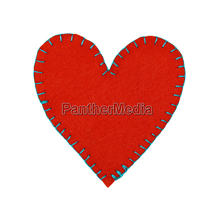 one red felt stitched heart isolated