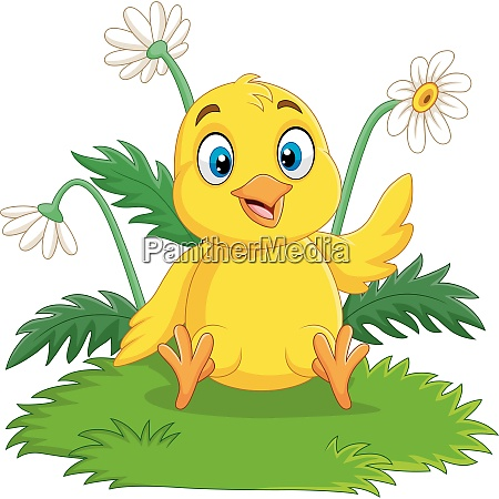 cartoon baby chick sitting on the