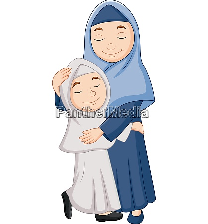 muslim mother and daughter hugging