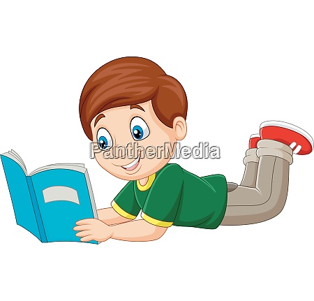 cartoon boy laying down and reading