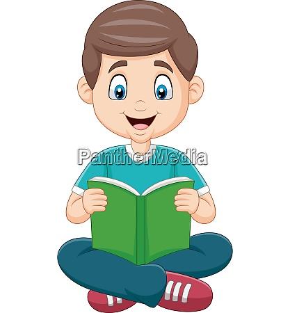 cartoon boy reading a book