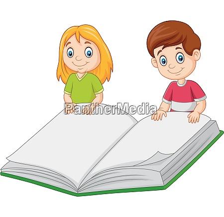 cartoon boy and girl holding