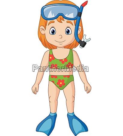 cartoon little girl with snorkeling gear
