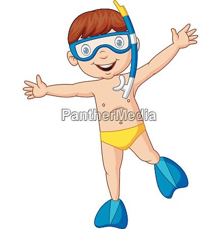 cartoon boy diving with snorkeling gear