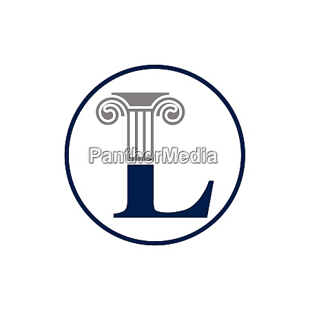initial letter and law pillar logo