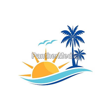 palm tree icon of summer and