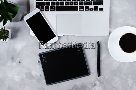 overhead view of graphic tablet graphic