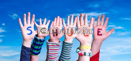 children hands building word schule means