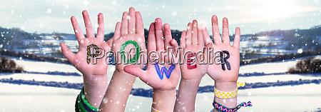 children hands building word power winter