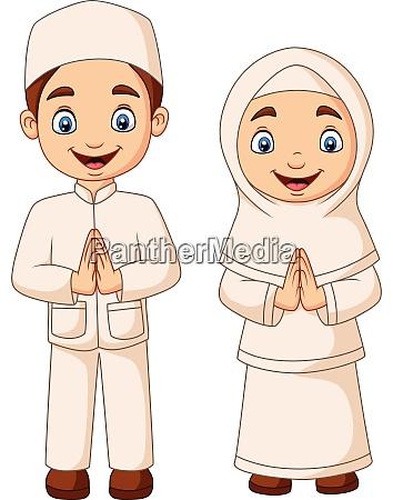 happy muslim kid cartoon on white