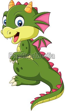 cartoon cute baby dragon on white