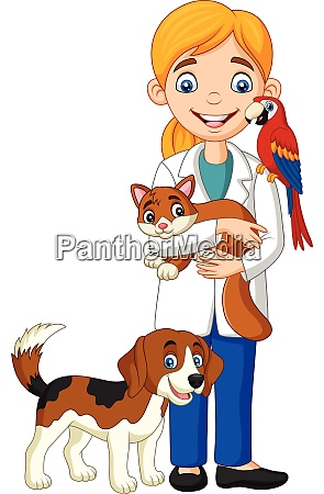 cartoon female veterinarian examining pets