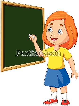 cartoon schoolgirl writing on the blackboard