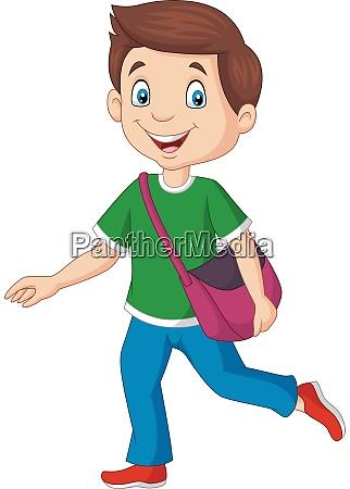 cartoon happy school boy carrying backpack