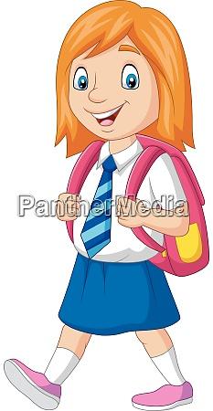 cartoon happy school girl in uniform