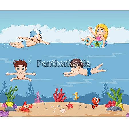 cartoon kids swimming in the tropical
