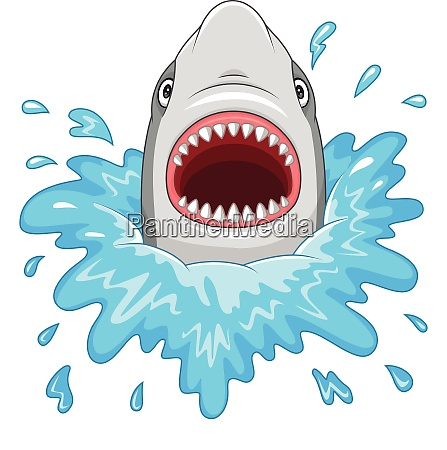cartoon shark with open jaws isolated