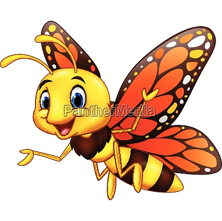 cartoon happy butterfly on white background