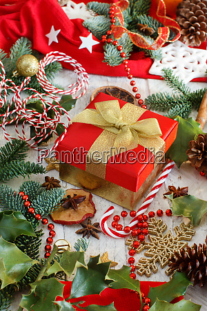 christmas decorations with fir branches and