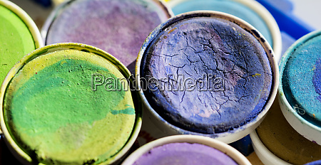 dry watercolor pots in closeup