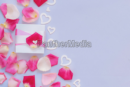 spring composition with petals and hearts