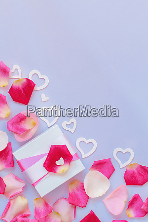 spring composition with gift box petals