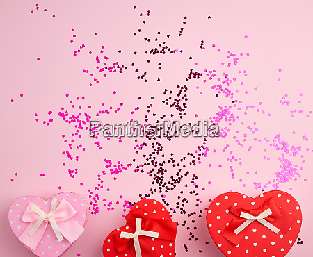 closed red and pink heart shaped