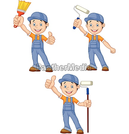 cartoon painters with equipment brush collection