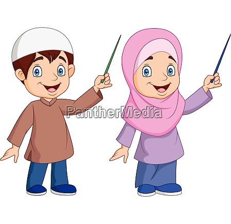 cartoon muslim kid presenting