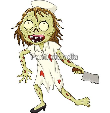 cartoon zombie nurse on white background