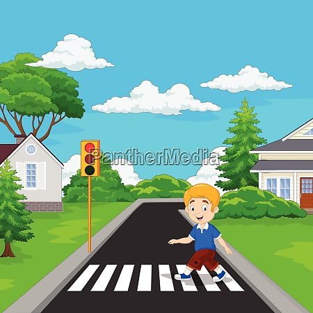 cartoon boy walking across the crosswalk