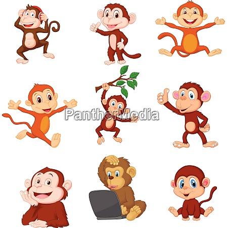 cartoon happy monkeys collection set