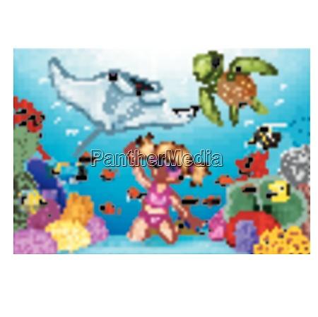 cartoon little girl diving in underwater