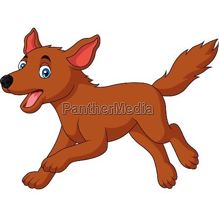 cartoon happy dog running