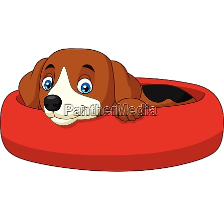 cartoon happy dog relaxing in the