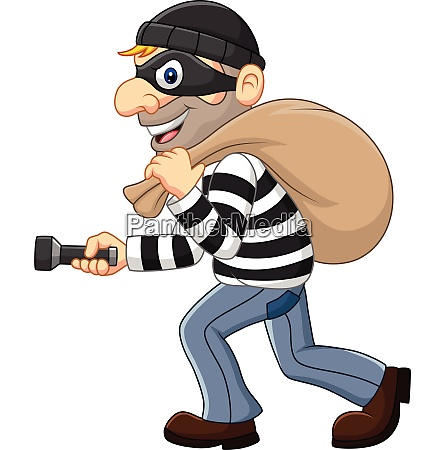 cartoon thief walking and carrying a
