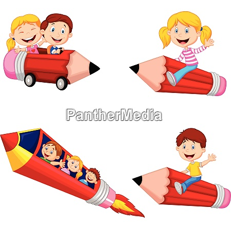 cartoon children riding pencil toys collection