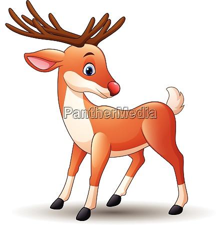 cartoon red nose deer