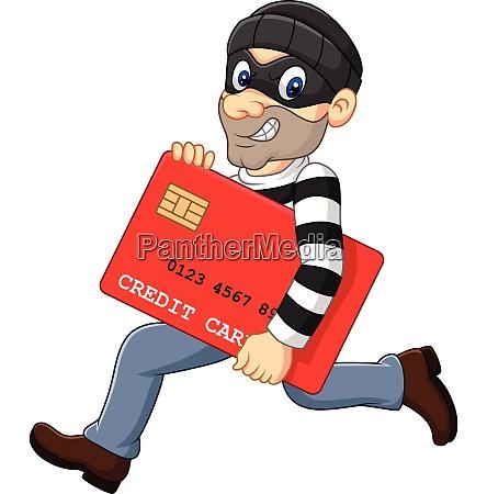 cartoon thief in a mask stealing