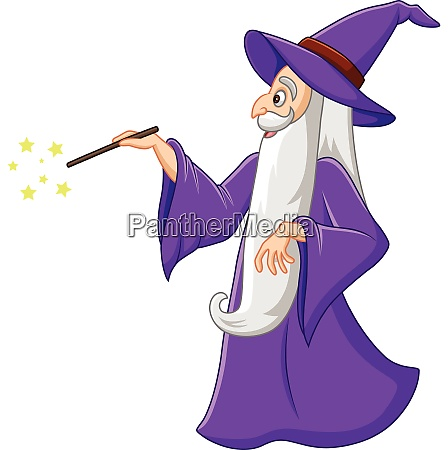 cartoon old wizard holding a magic