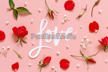 red flowers and text love on