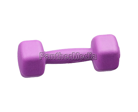 purple plastic dumbbell for sports isolated