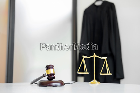 scales of justice and gavel judge